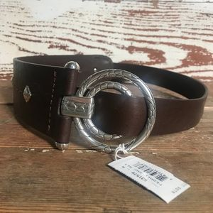 Brighton Brown Pebble Ring Wide Belt Medium